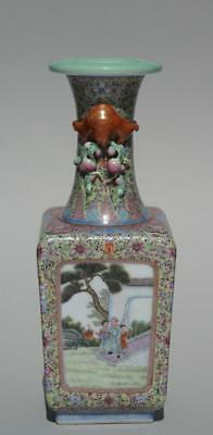 Chinese Famille Rose Square Section Baluster Vase, Republic Period.