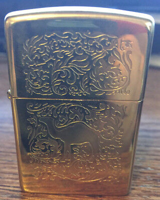 Absolutely Mint Camel Rare Brass Engraved Collectible Vintage Zippo Lighter NOS