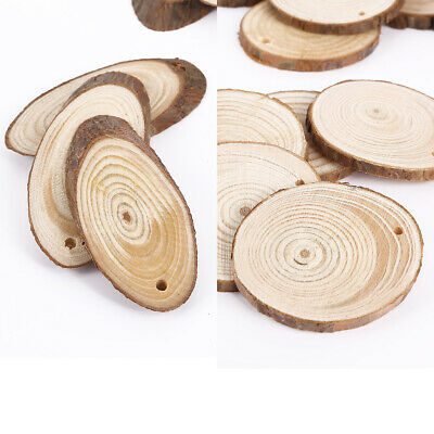 Wooden Wood Log Slices Natural Tree Bark Decorative Wedding Oval / Round