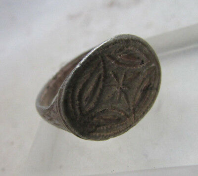 Beautiful Ancient Byzantine Crusaders Silver Seal Ring With Star Of Bethlehem