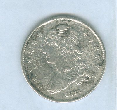 Genuine 1831 US Capped Bust Silver 25 Cent, VF Details, Corroded