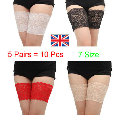 5Pair Non-Slip Lace Elastic Anti-Chafing Thigh Bands Prevent Thigh Chafing Socks