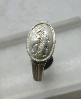 Rare Ancient Greek Silver Signet Ring With Athena Stood Facing On Bezel