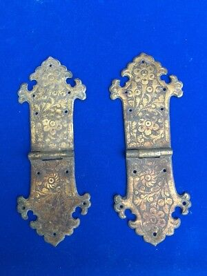 Well Engraved Arts And Crafts Hinges For A Box Or Trunk