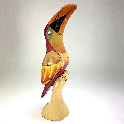 """Toucan Wood Carving Hand Crafted Painted Tropical Balsa Wood Driftwood 12 1/4"""""""