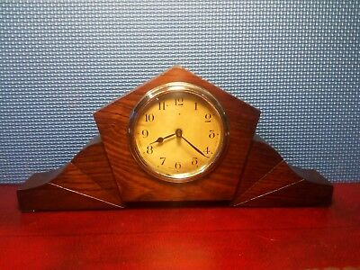 30 Hour Art Decco Wind Up Mantle Clock . Working order.