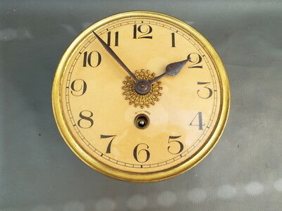 Vintage wall clock movement dial and hands for repair or parts