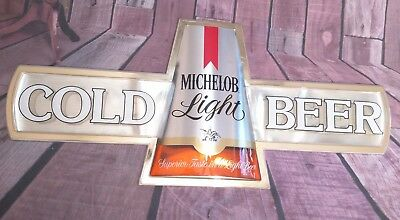"""Michelob Light """"Cold Beer"""" Plastic Sign 37"""" x 16.5"""""""