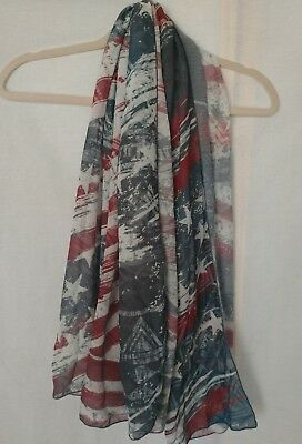1fe59c9d3510 cal style womens sheer scarf wrap shawl red white and blue sarong stars 3A