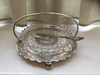 Superb Antique Victorian Silver Plated And Glass Butter Dish & Butter Knife 1870