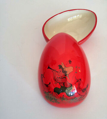 Vintage Red Porcelain Trinket Box, Porcelain Egg, Hand Painted Pottery