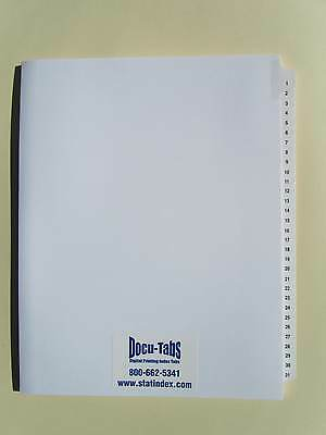 100 Sets # 1-31 Numbered Index Tab divider Loose leaf $4.59 per set Made in USA