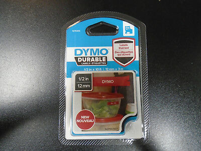 New Dymo D1 Durable Labeling Tape, White Print on Red Tape, 1/2 W x 10' L