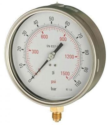 160mm Pressure Gauge - Industrial Bottom Entry Dry Fillable 1% Acc