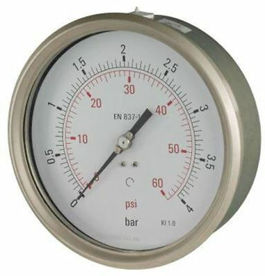 160mm Pressure Gauge - Industrial Lower Back Entry Dry Fillable 1% Acc