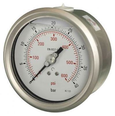 100mm Pressure Gauge - Glycerine Filled Industrial Lower Back Entry 1% Acc