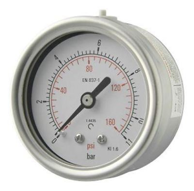 63mm Pressure Gauge - All Stainless Steel Back Entry 1.6% Acc