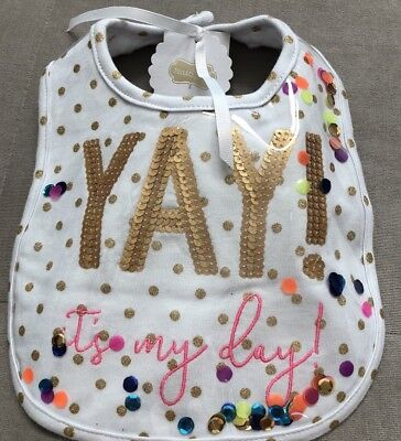 Mud PIe Birthday Girl Confetti  Bib Party White Gold Pink It's My Day