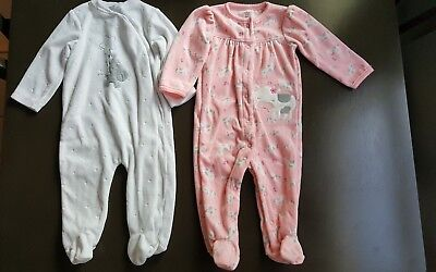 Lot Of 2 Carter's/quiltex Baby Girl Pajamas sleepers size 9 Months New w/o tags