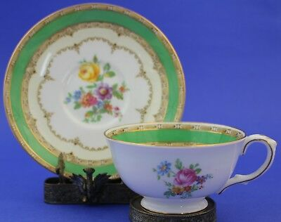 Vintage Crown Staffordshire Bone China Porcelain Pink Floral Tea Cup Saucer Set