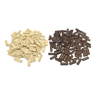 100x Handmade Label Wood 2-holes Buttons Tags for Sewing Clothing Decor 30mm