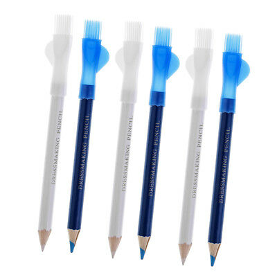6Pcs Sewing Fabric Markers Marking Pencil Pen With Brush Tailor Chalk Pencil
