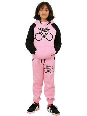 Girls Tracksuit Kids Designer's Pedal Power Jogging Suit Top & Bottom 5-13 Years