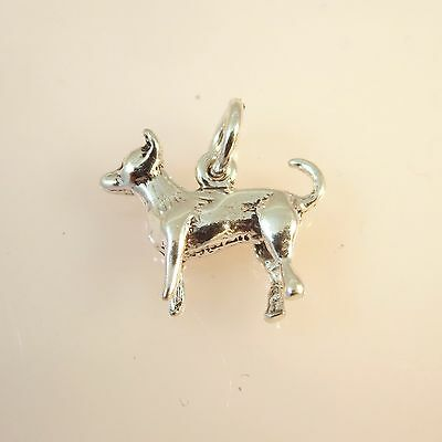 .925 Sterling Silver 3-D Light CHIHUAHUA CHARM NEW Puppy Dog Pendant 925 DG29