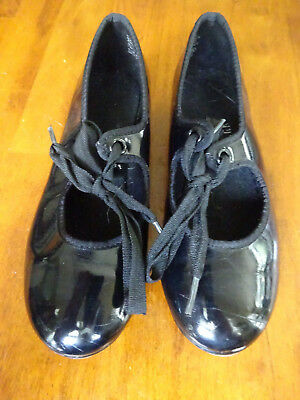 Girls Black Patent Leather ABT Tap Shoes Sz. 11