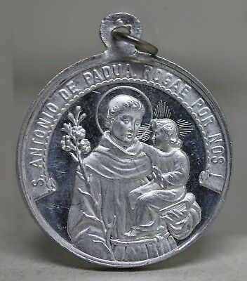 Antique Religious Medal SAINT ANTHONY OF PADUA & SAINT FRANCIS OF ASSISI