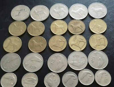 irish coins 1978 to 2000 job lot Pound coin 20p 10p large 10p small collection