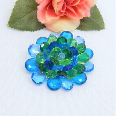 Vintage West Germany Colorful Acrylic Flower Brooch