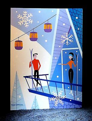 "SHAG Rare 2015 ""LET IT SNOW"" Christmas Greeting Note Card Josh Agle Pop Art -NEW"