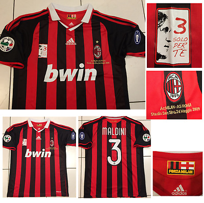 AC Milan 2008 2009 PAOLO MALDINI Final EVER Game Match Player-issue Shirt LARGE