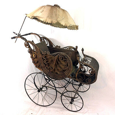 Antique Gendron Baby Carriage Ornate Stroller Buggy 1800's 19th Century Wicker