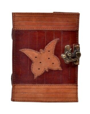 Vintage Handmade Antique Butterfly Leather Journal Diary & Notebook 5x7