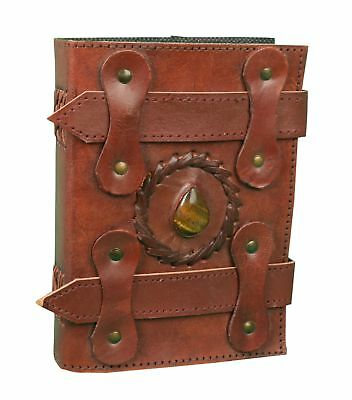 Leather Journal Soft Leather Strap Journal Paper With Beautiful Stone 5x9