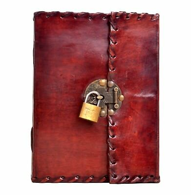 Genuine Antique Leather Journal Simple Diary With Key Lock Journal 7x10