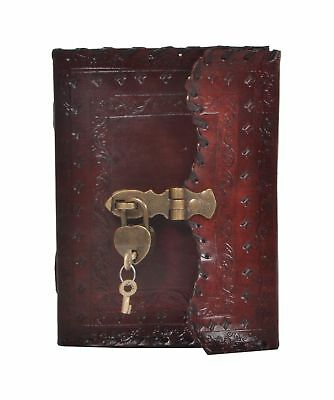 New Antique Design Embossed Leather Journal Key Lock 7x10
