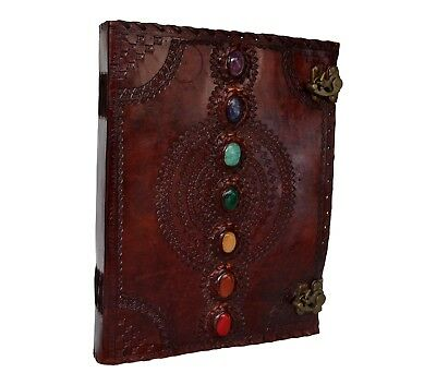 Handmade Book Of Shadows Leather Journal Extra Large 7 Chakra Stone Wicca 10x13