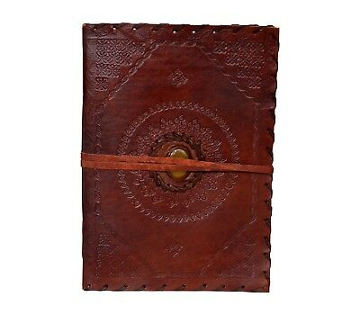 Celtic Yellow Stone God'S Eye Bound Leather Journal Handmade Paper Diary 7x10