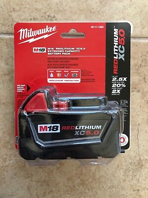 Milwaukee 48-11-1850 M18 Red Lithium XC5.0 Battery Pack, 5.0 A 18V