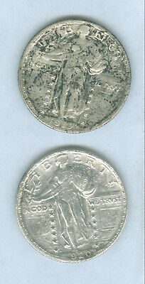 Genuine Scarcer Dates 1919-S & 1920-S Silver Standing Liberty 25 Cent