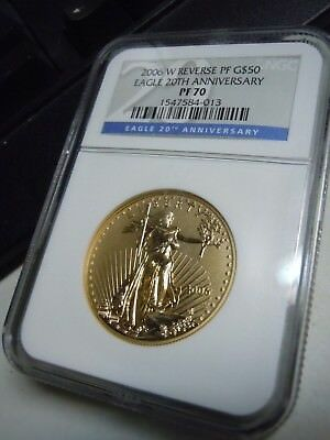 2006 W Reverse PF G$50 Eagle 20th Anniversary PF70 NGC Proof Gold Coin