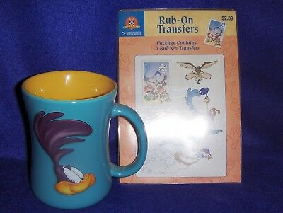 Roadrunner Coffee Mug With Rr / Wiley Coyote Rub On Transfers