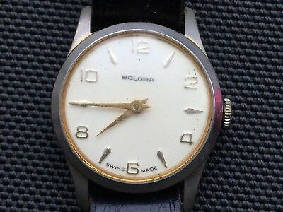 Vintage Men's Solora Swiss Made Wristwatch Working with Leather Strap