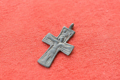 Ancient Byzantine Bronze Cross - 4.6g made on necklace
