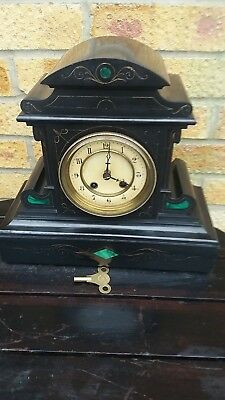 Antique Belgium Slate  Mantle Clock, With Malachite Inserts. Strikes The Half Ho