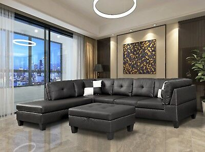 Astounding Winpex Nail Head Trim Faux Leather Sectional Sofa With Spiritservingveterans Wood Chair Design Ideas Spiritservingveteransorg