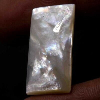 Ravishaing~14.40Cts Natural Mother Of Pearl Shell White Octagon Cabochon Gemston